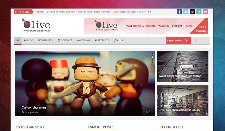 Olive Blogger Template + Installation