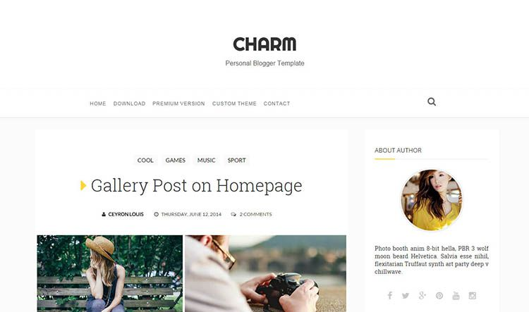 Charm Responsive Clean Blogger Template