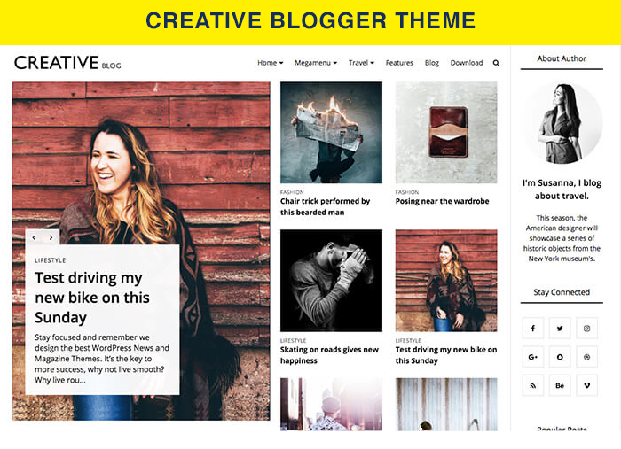 creative blogger theme