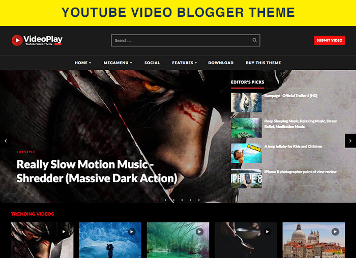 youtube video blogger theme